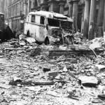 Ruins of buildings and vehicles Mohrenstrasse after allied air attacks. Bundesarchiv, Bild 183-J31347 / CC-BY-SA