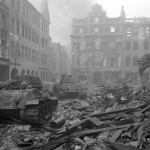 Soviet tanks advance through Berlin