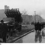 "German civilians passing a Soviet ""Katyusha"" rocket launcher on Frankfurter Allee. Bundesarchiv, Bild 183-R77872 / CC-BY-SA"