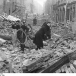 A Berlin street after an allied air raid Feb 1945. Bundesarchiv, Bild 183-J131345/ CC-BY-SA