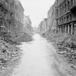 Scene of destruction in a Berlin street just off the Unter den Linden. Photograph No. BU 8604 from the Imperial War Museum collection No. 4700-30
